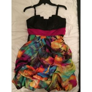 Ruffled strapless rainbow and black formal dress